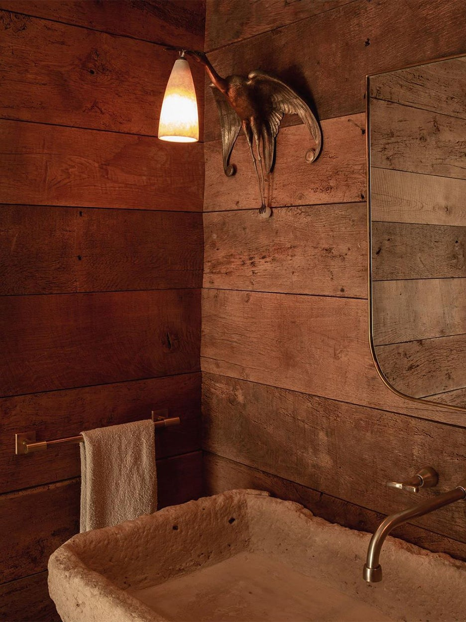 cabin wood bathroom