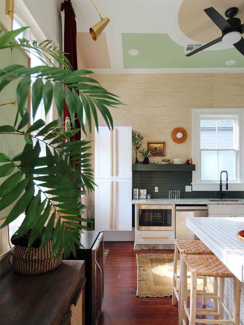 eclectic kitchen with tall ceilings