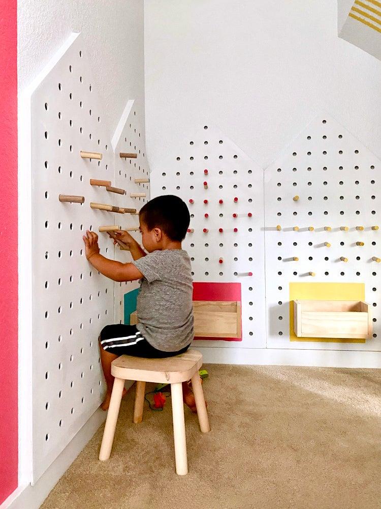 DIY plywood pegboard houses