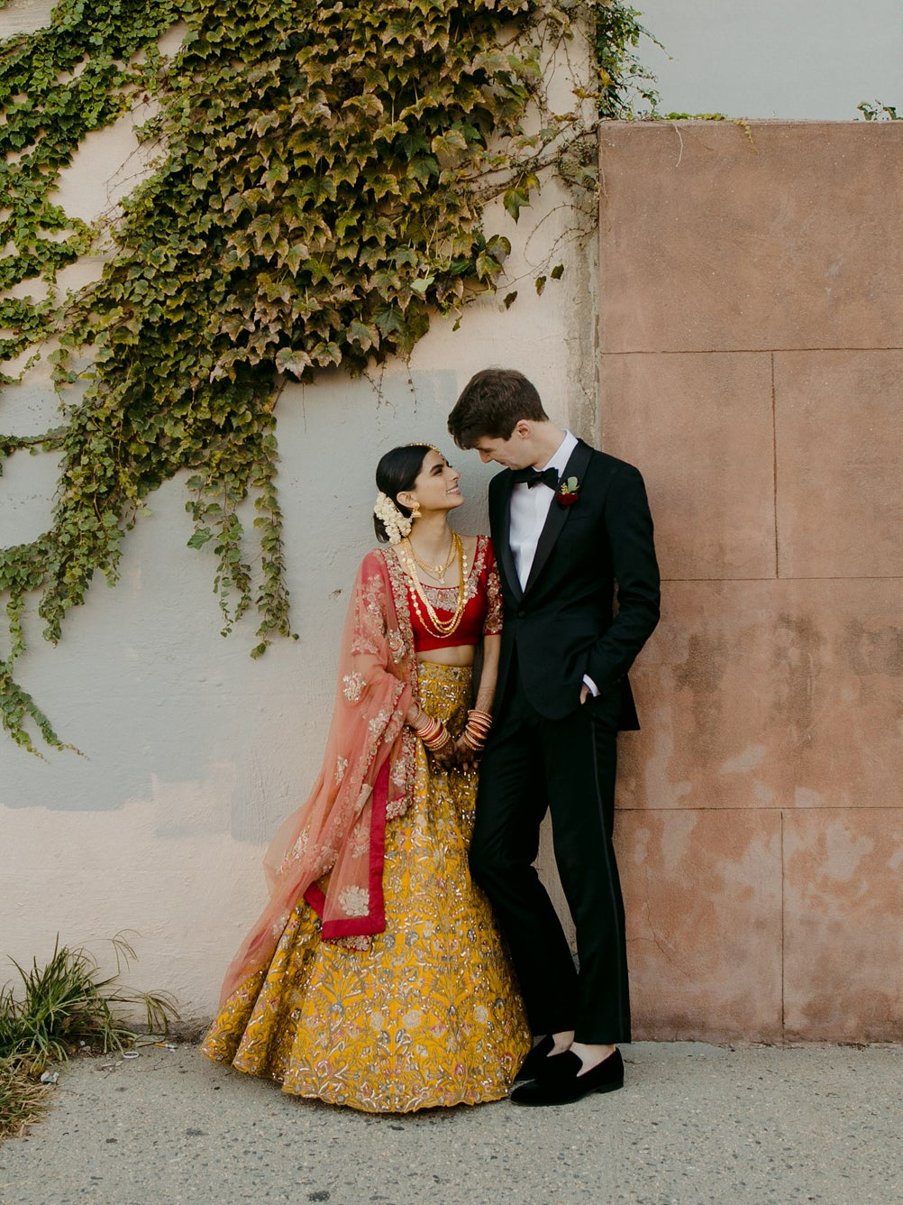 couple posing on street