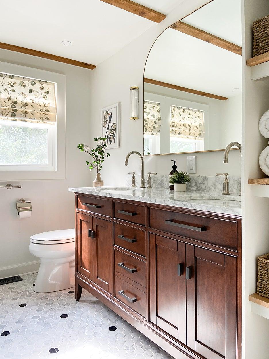 wood double vanity