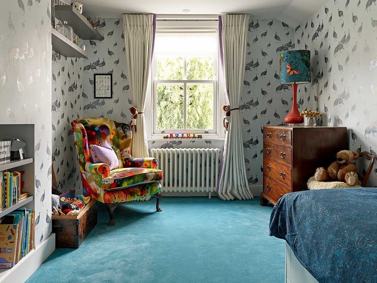 Kids room with turquoise carpet