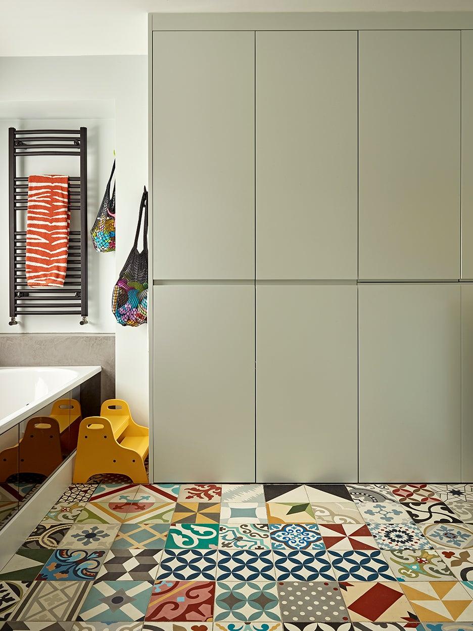 Bathroom with encaustic tile floors