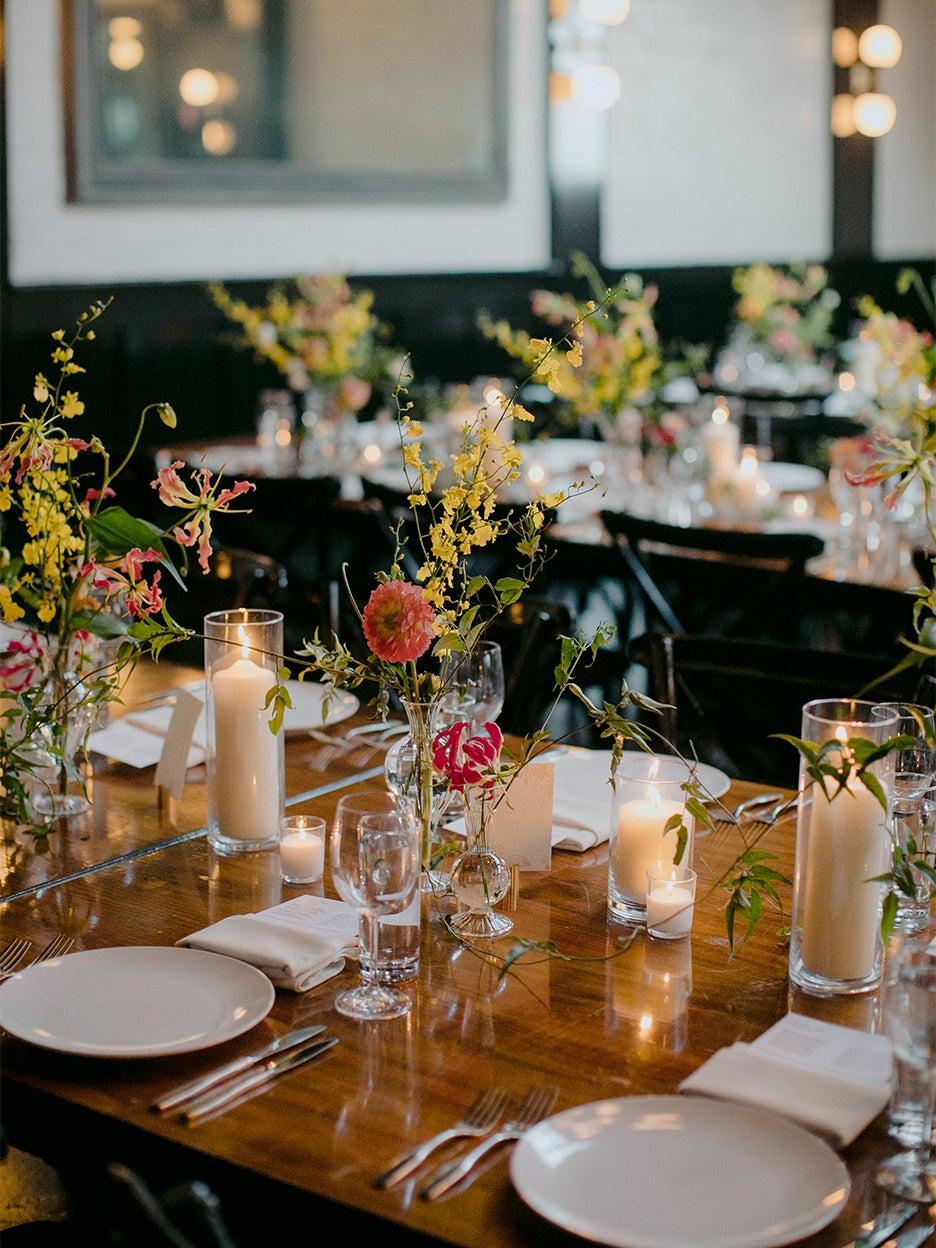 flowers on dinign table