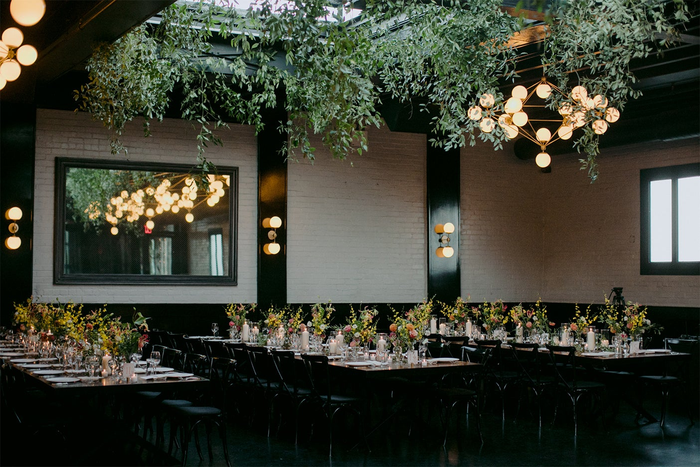 greenery hanging over dining tables
