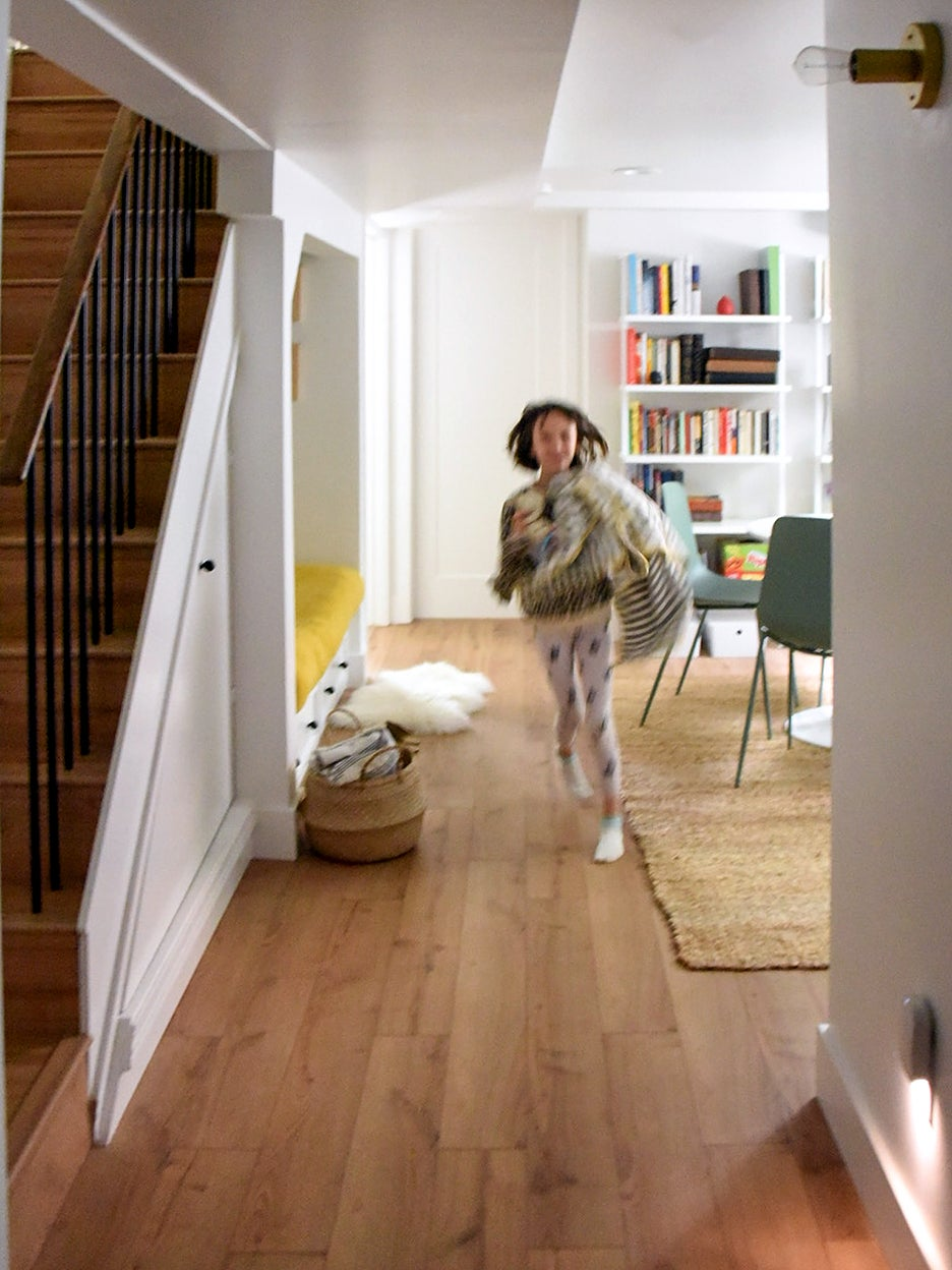kid running down hallway