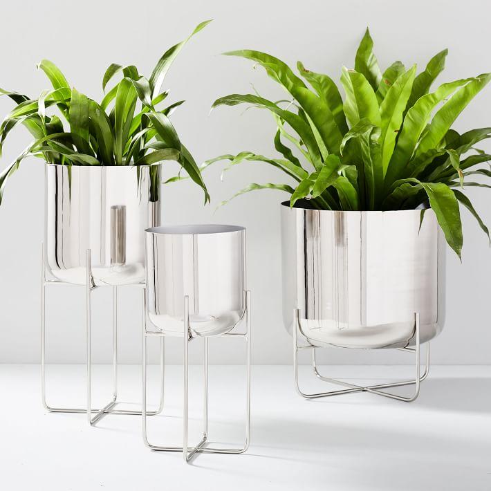 spun-metal-standing-planters-chrome-o