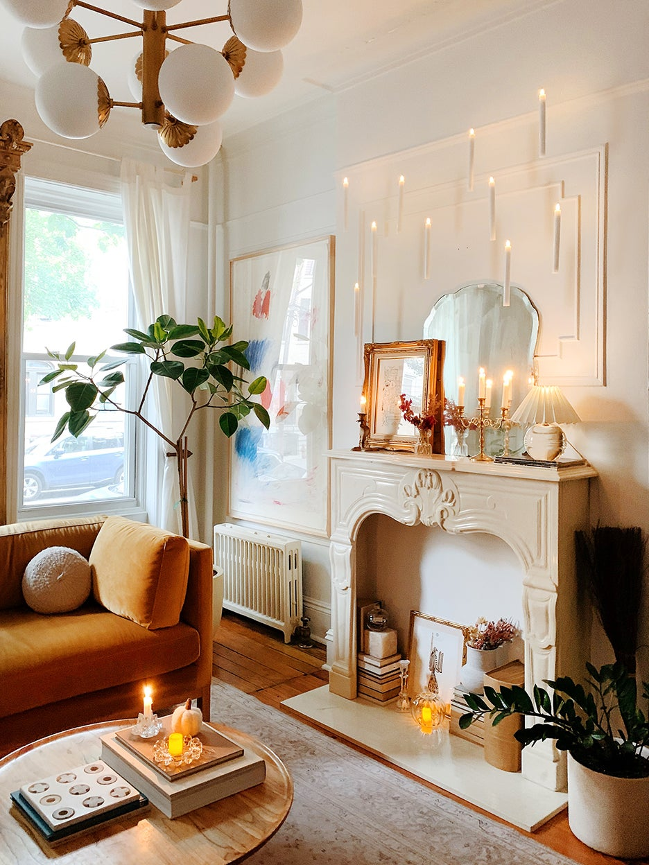 floating candles in pre war living room