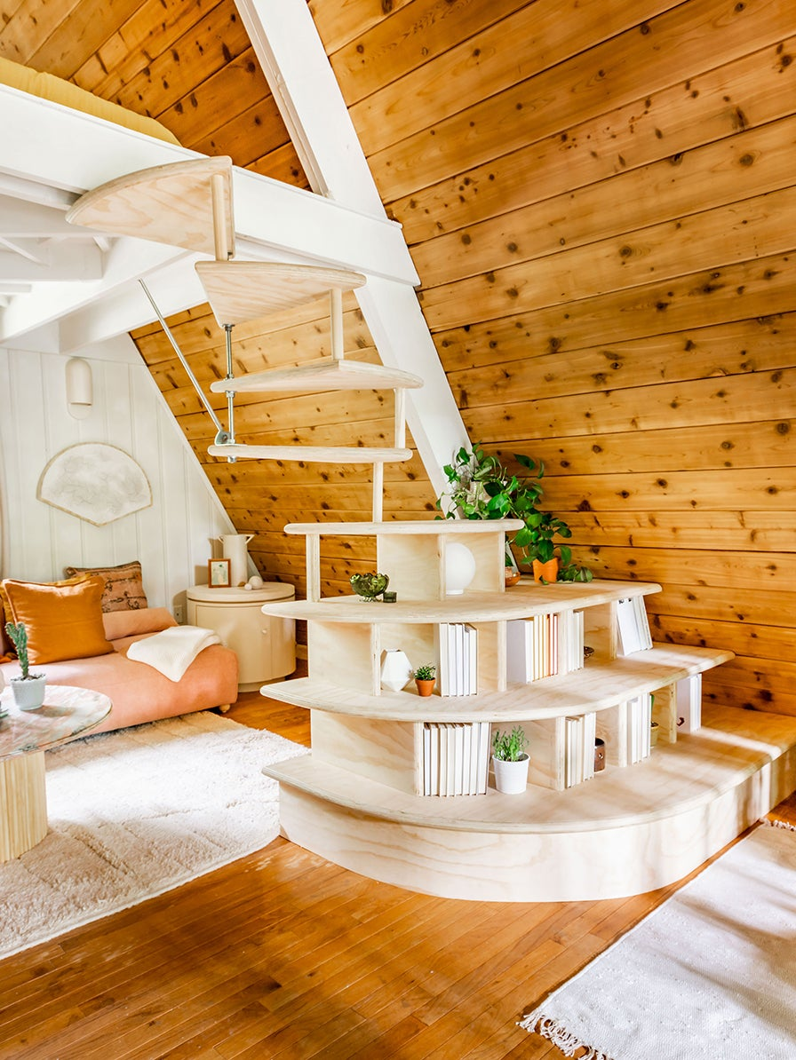 Bookcase stairs in a-frame