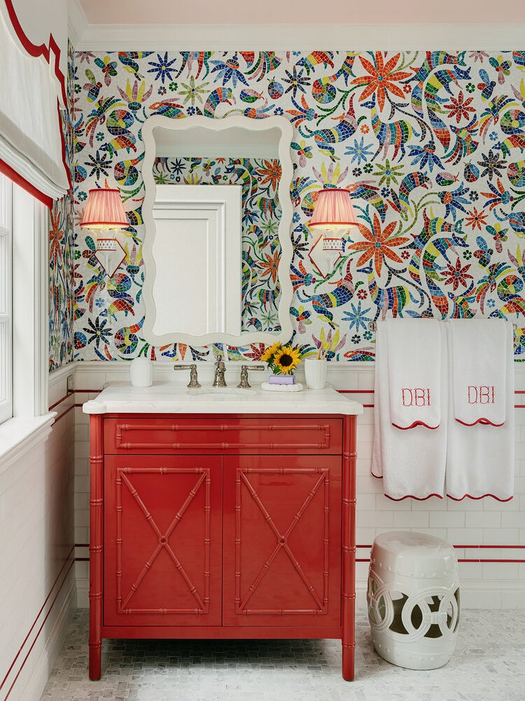Red kids bathroom with otomi tile