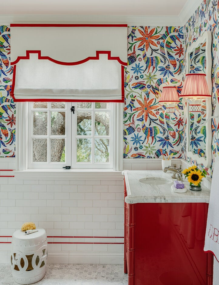 Kids bathroom with red striped window shade