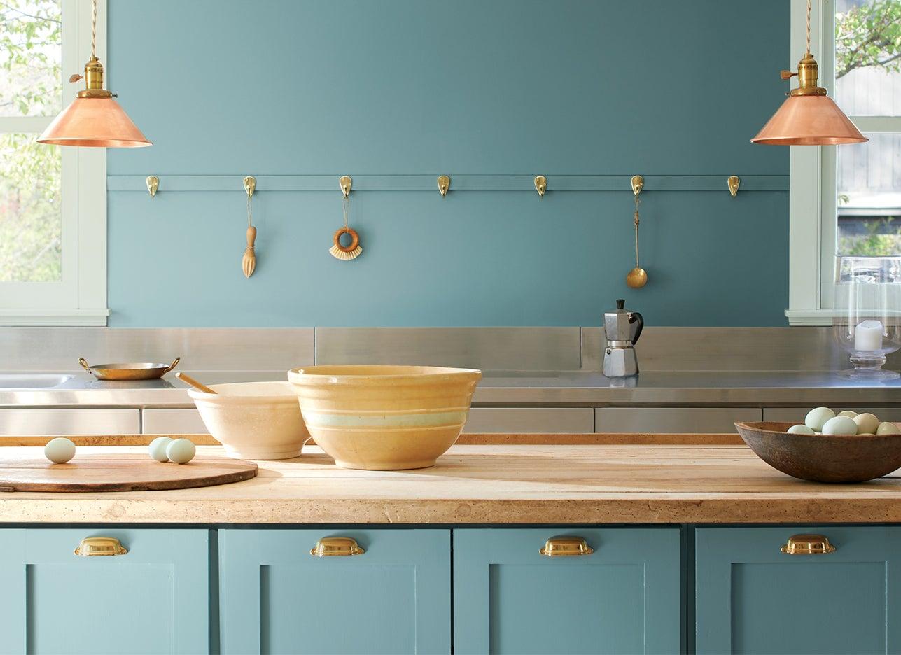 blue farmhouse kitchen