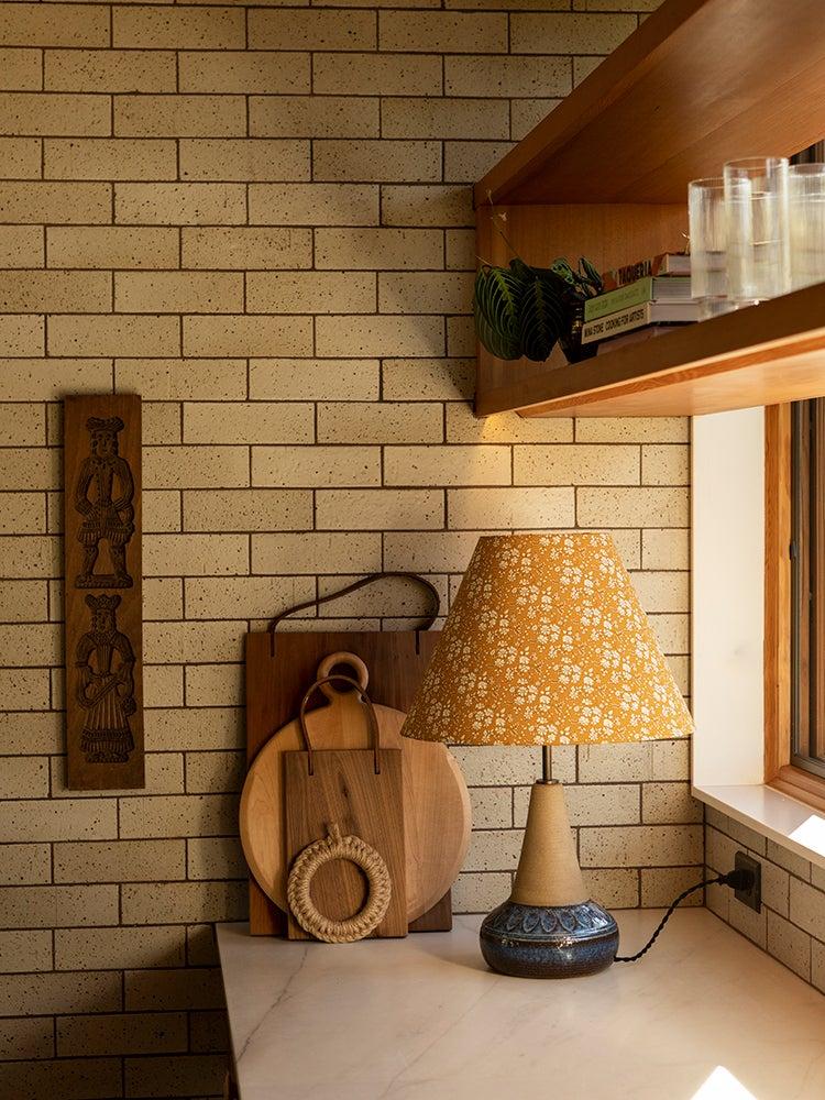 yellow lamp in mid century kitchen