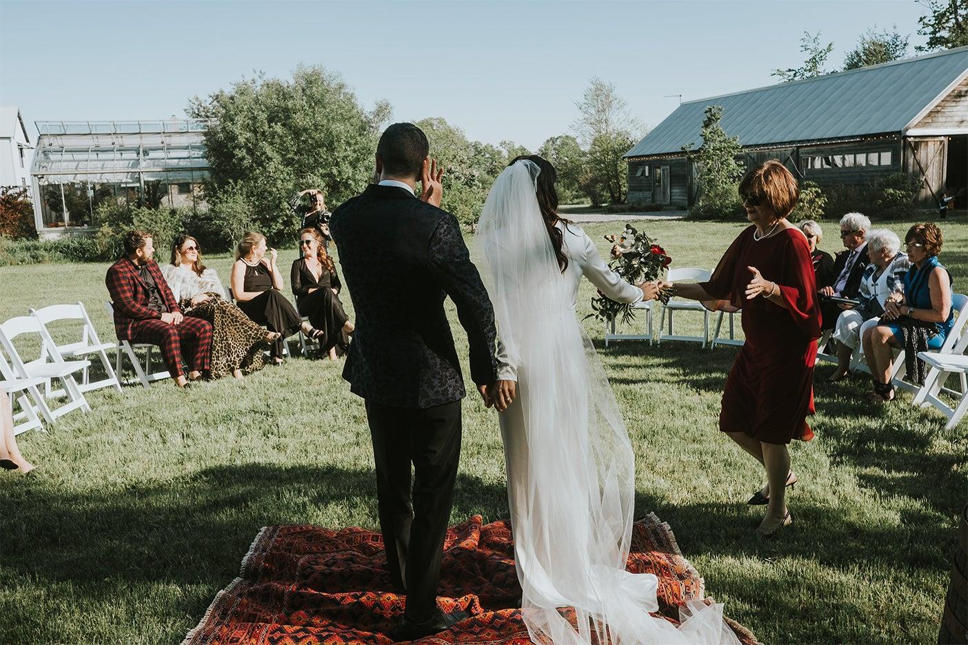Bride and groom on farm
