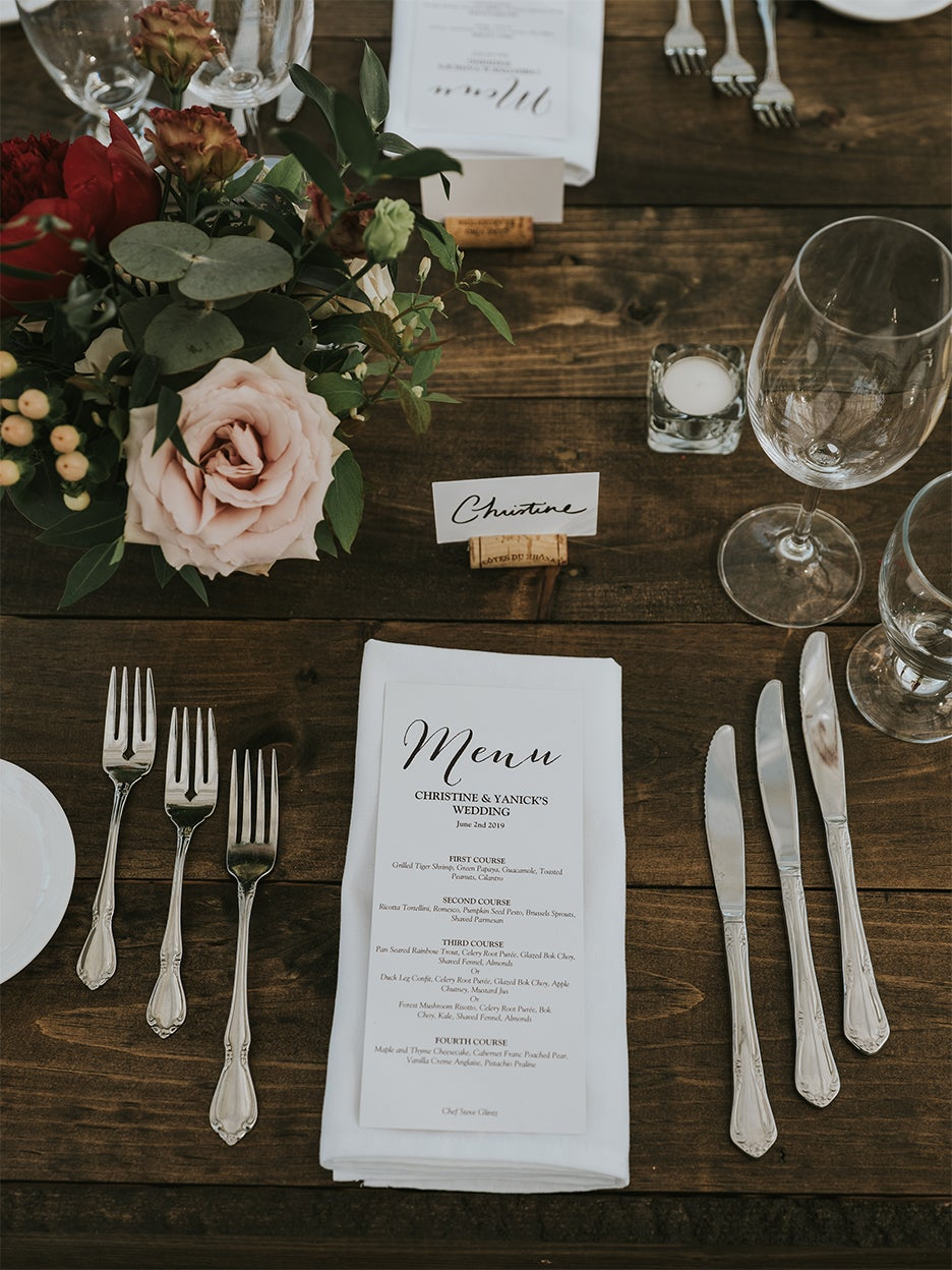 Dinner table with menu