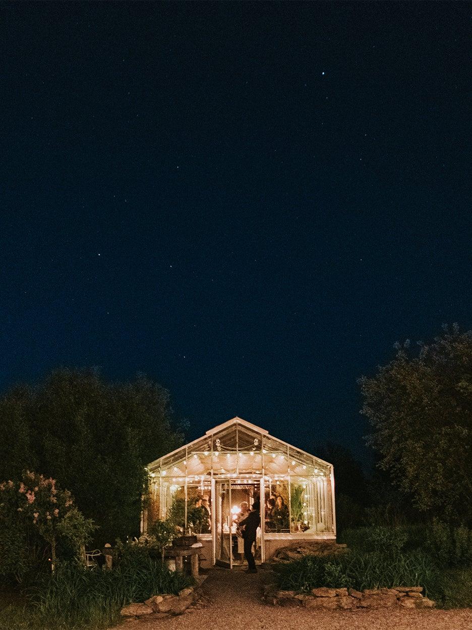 Greenhouse at night