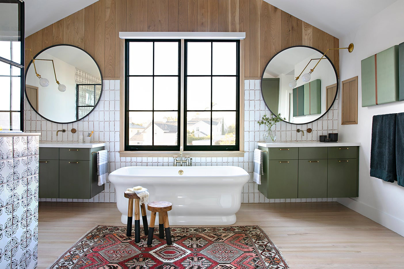 bathroom with wood and white walls