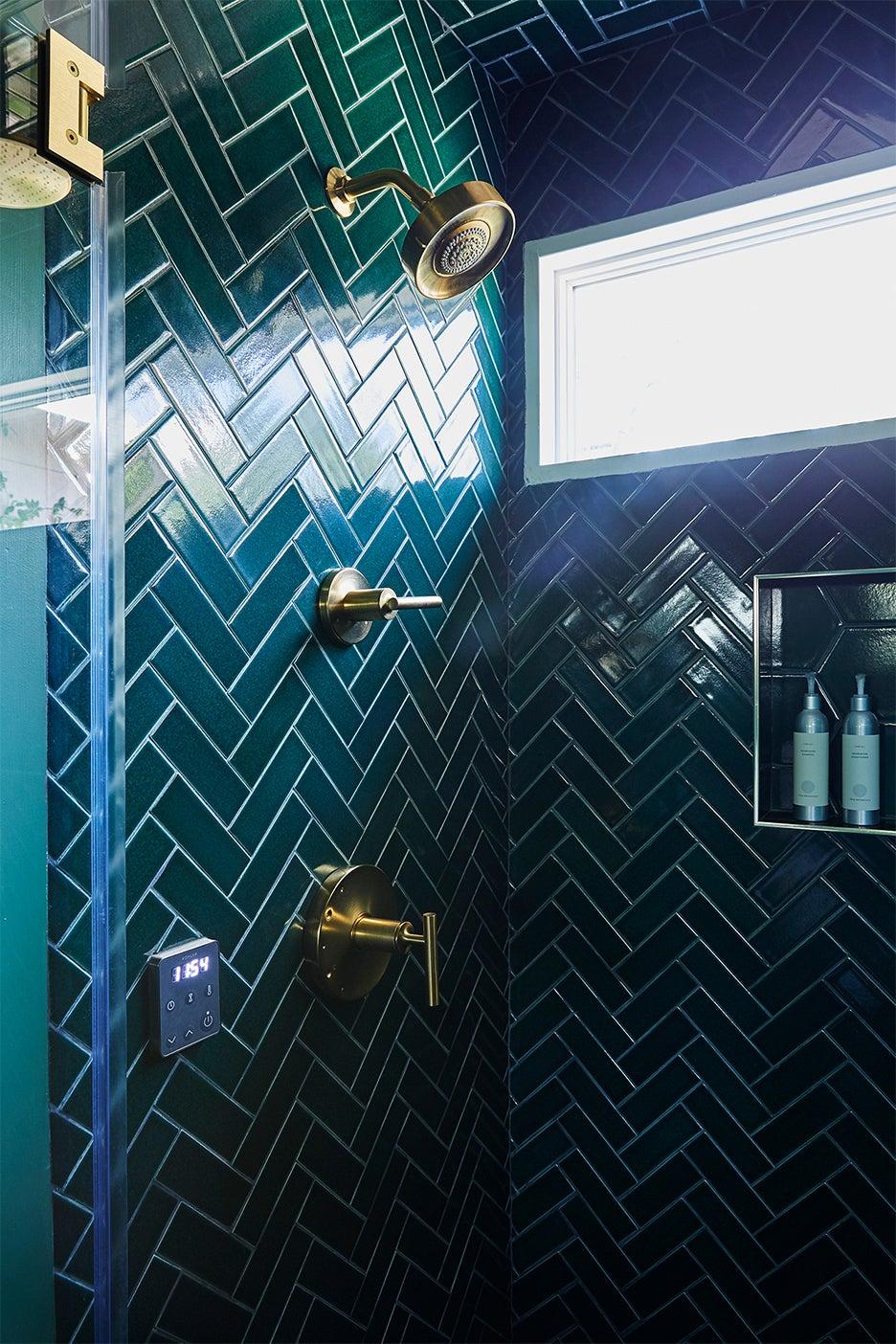 green tile shower