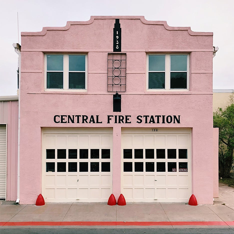 Pink fire station in Marfa, Texas