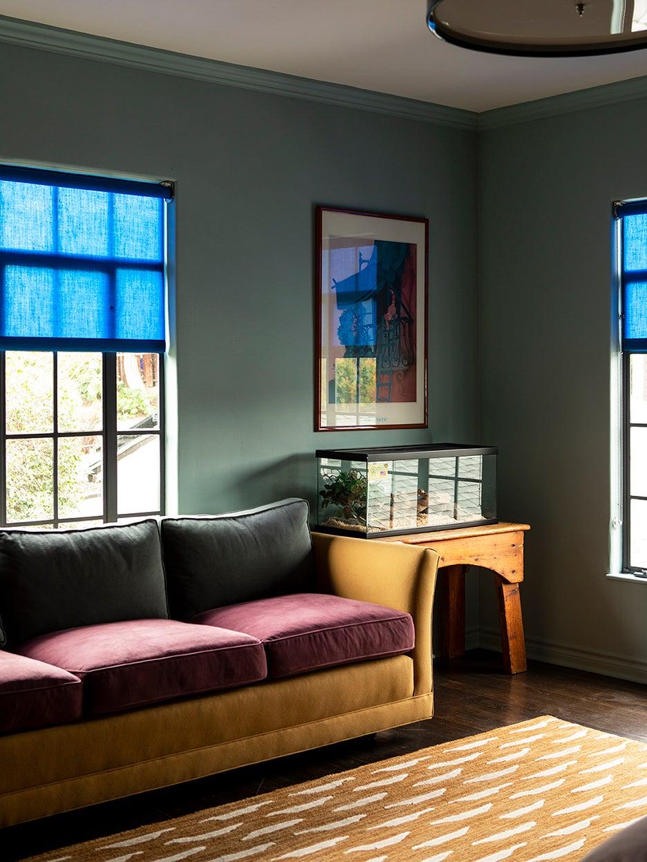 Blue window shade in lounge room