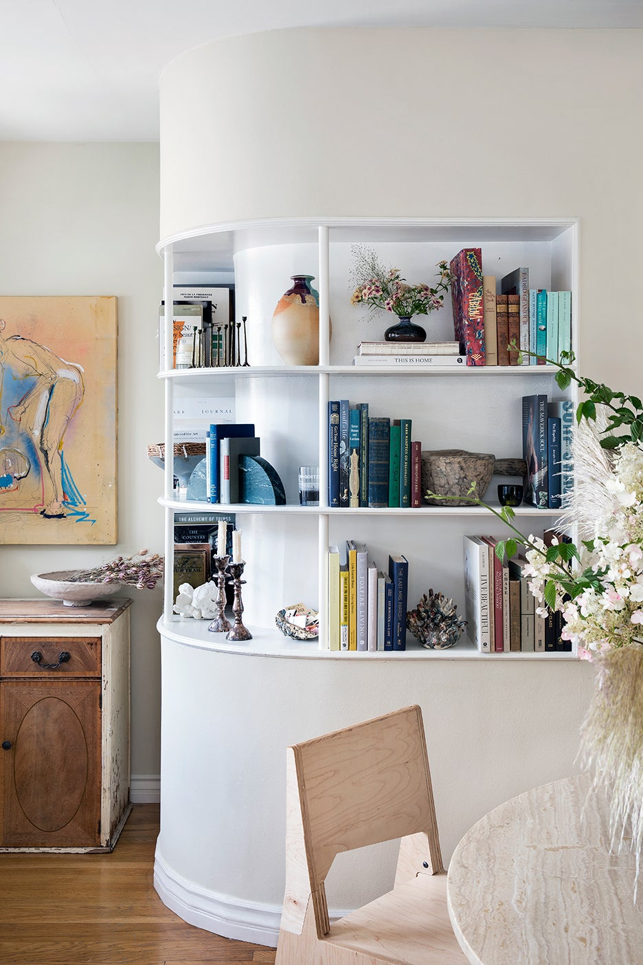 curved builtin bookcase