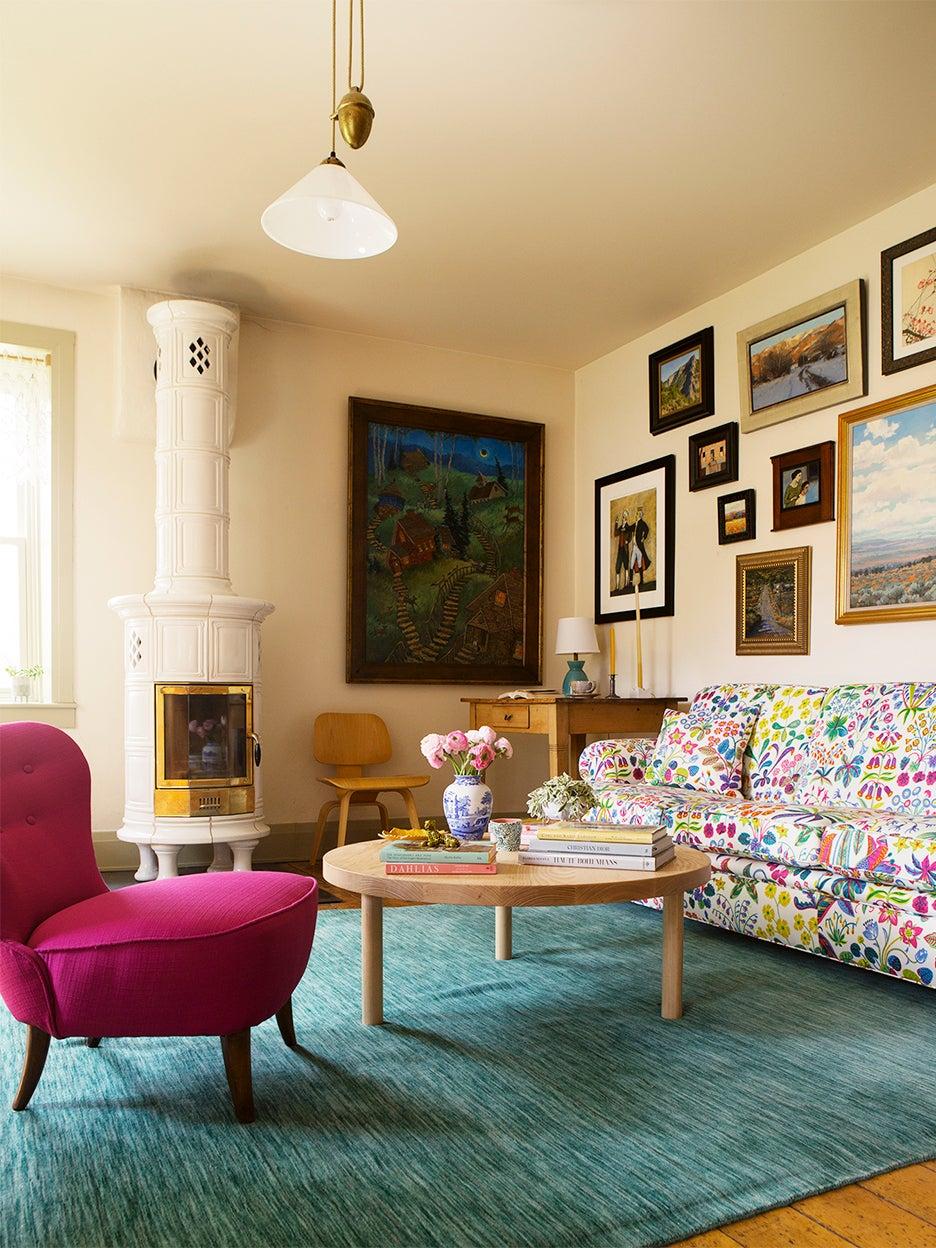 Josef Frank print sofa in living room