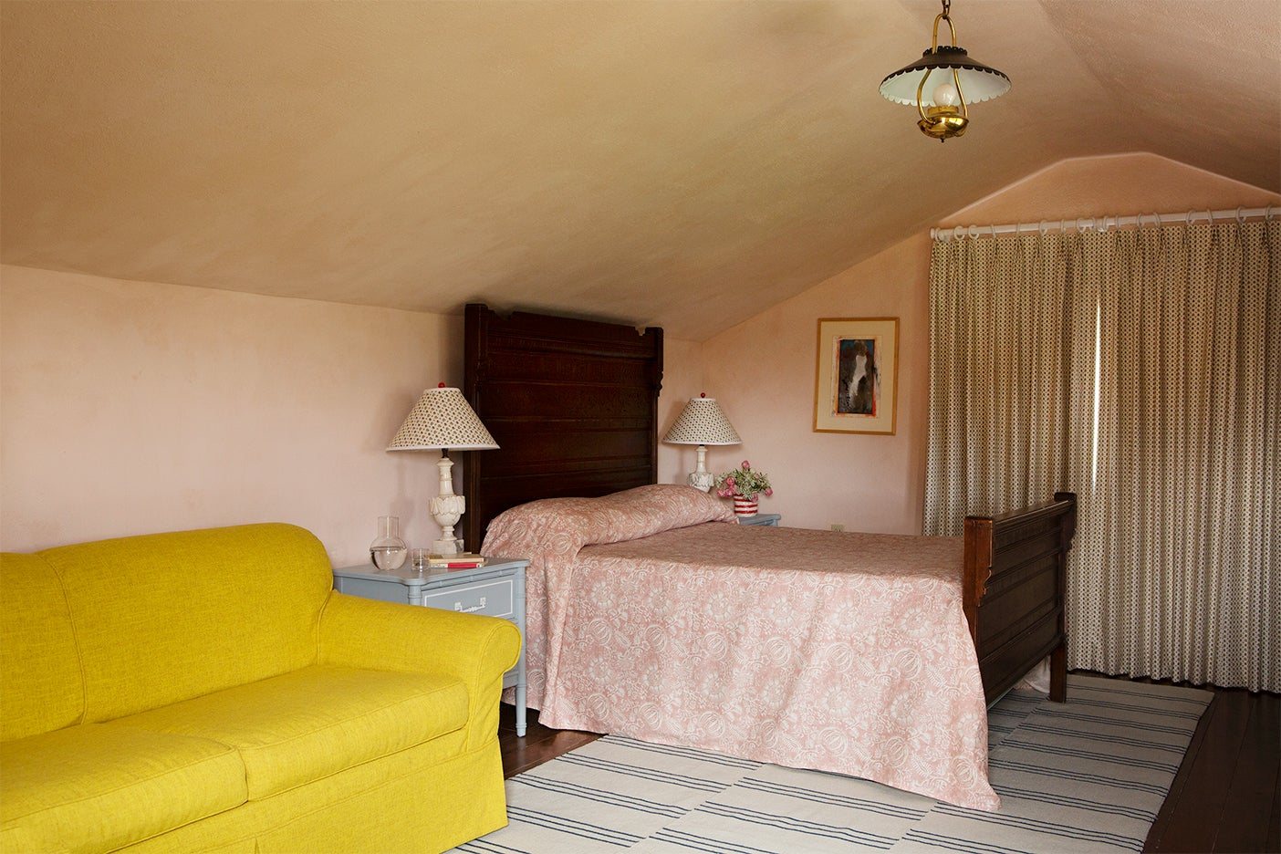 Pink lime washed walls in bedroom