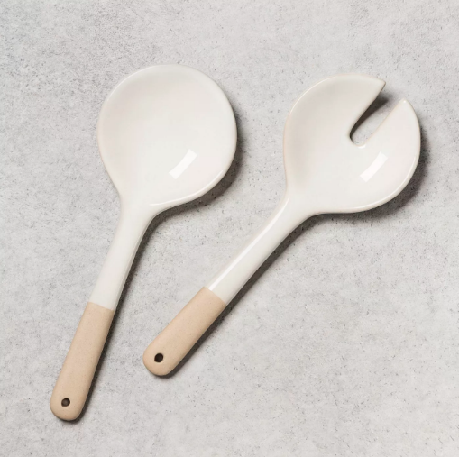 white salad spoons
