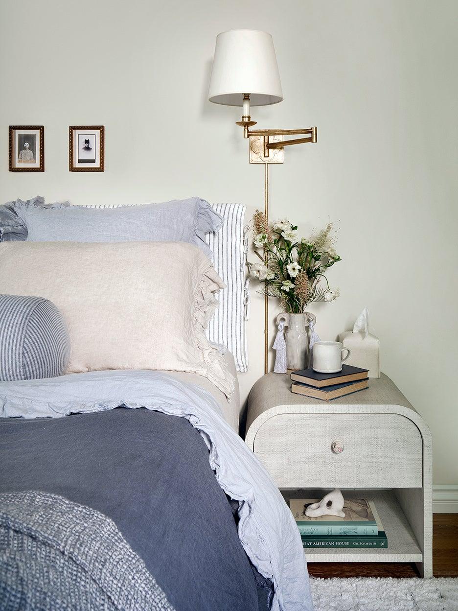 blue bed linens