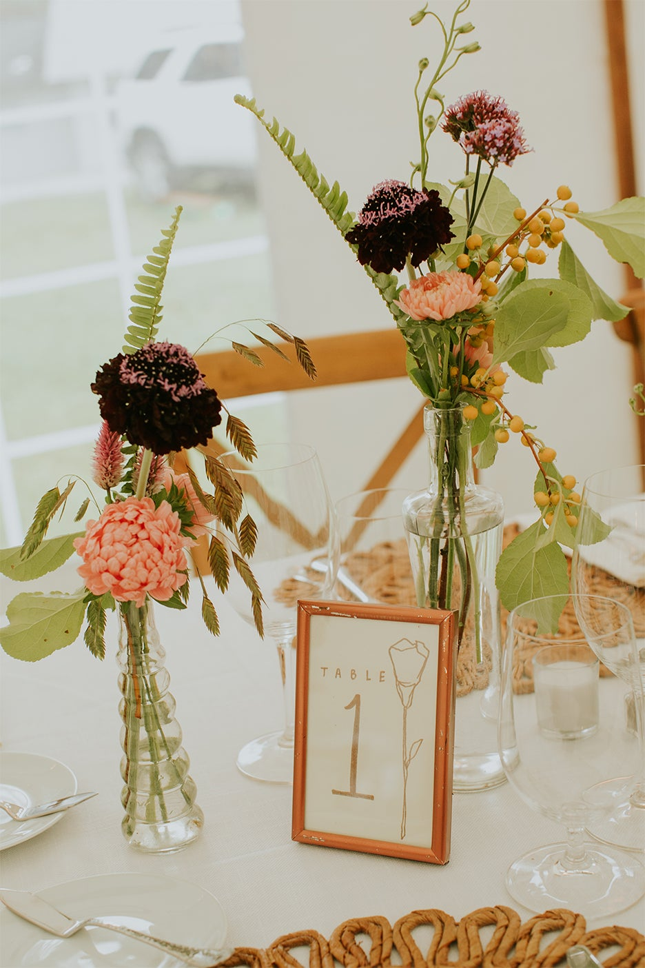 Flowers and table number