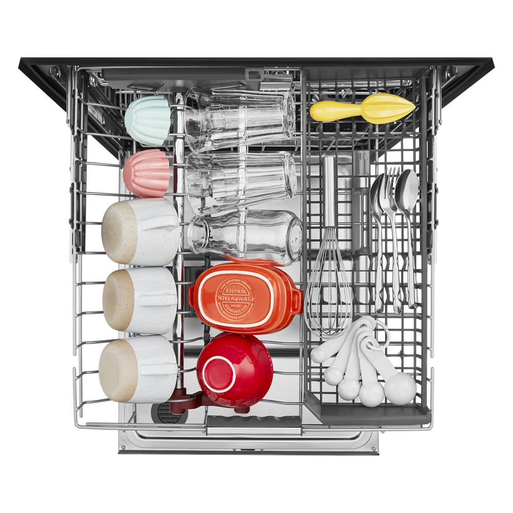 top drawer of open dishwasher