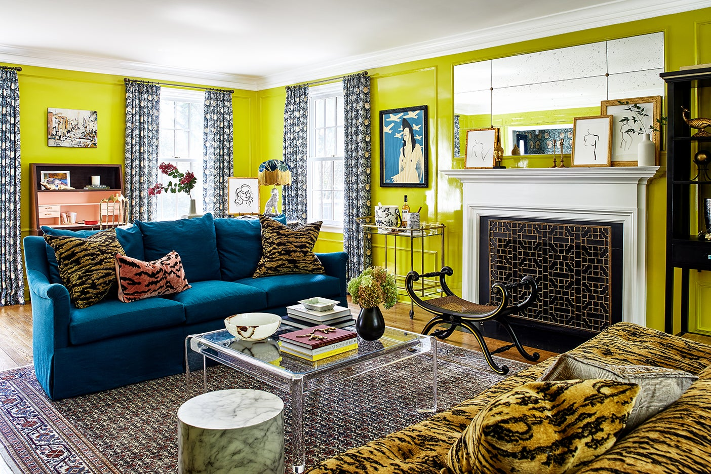 yellow living room with tiger prints
