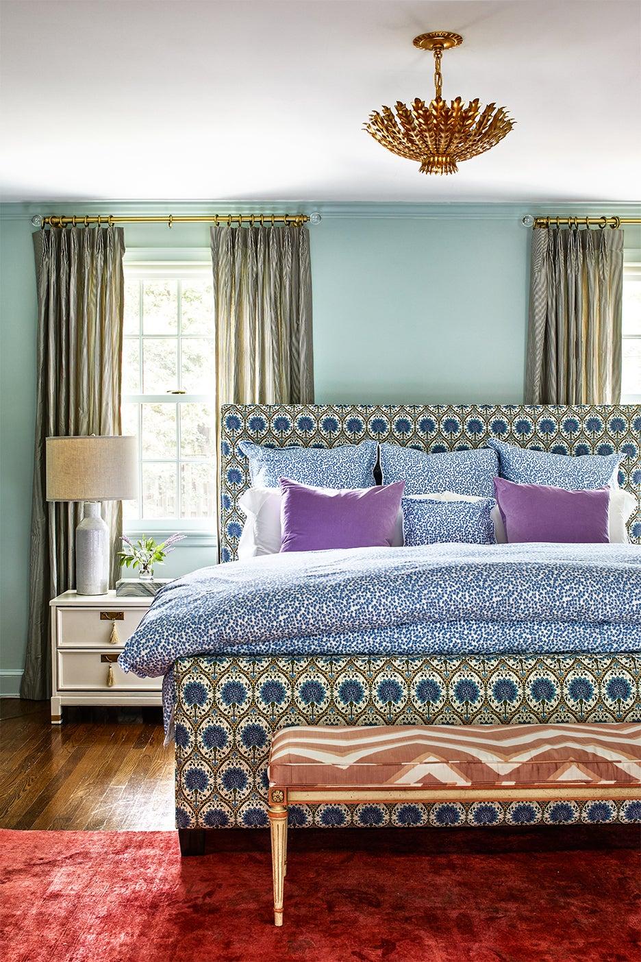 cozy bedroom with upholstered headboard