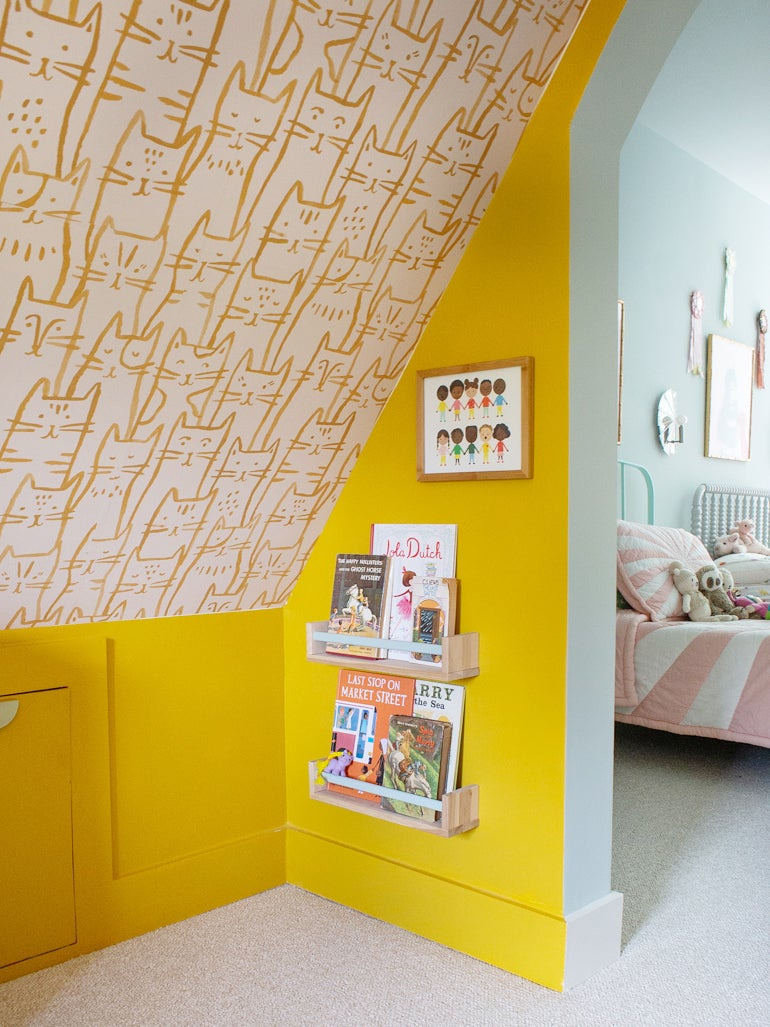 Yellow kids reading room