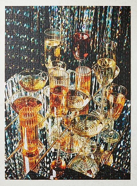 scattered glasses of champagne