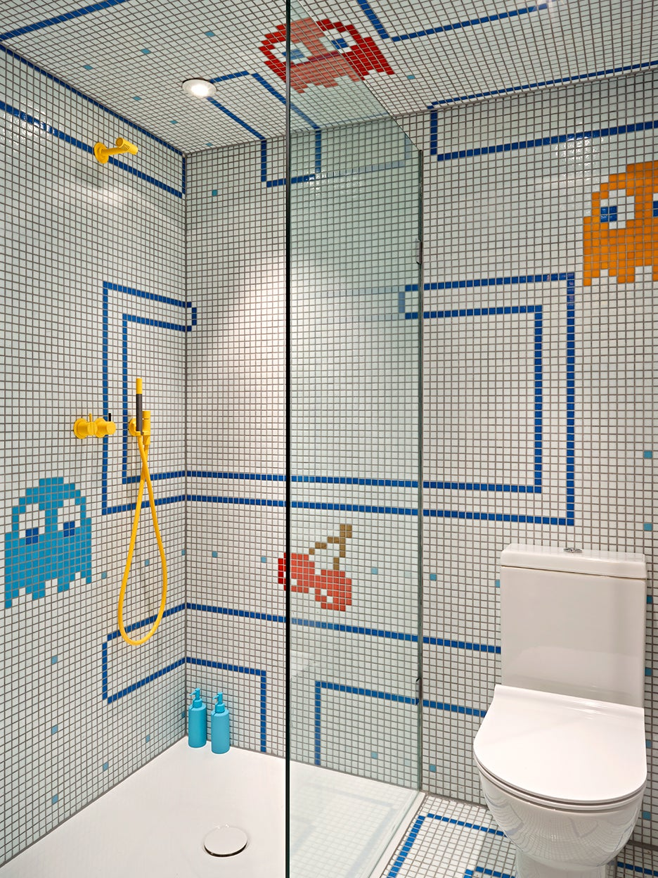 shower with pac man design