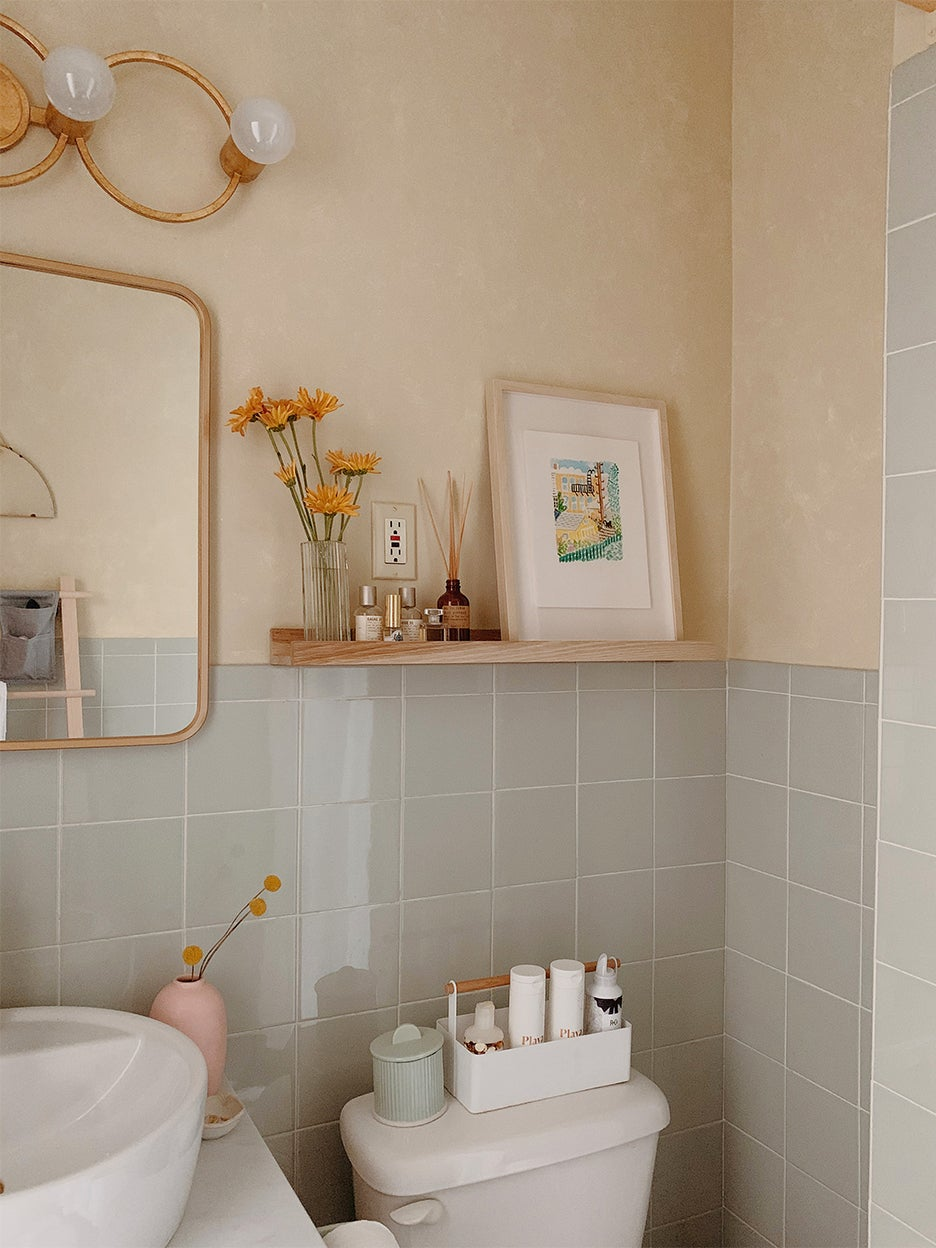 tiny shelf over toilet
