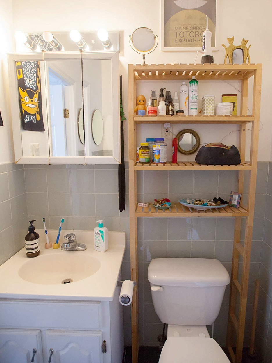tiny cluttered bathroom