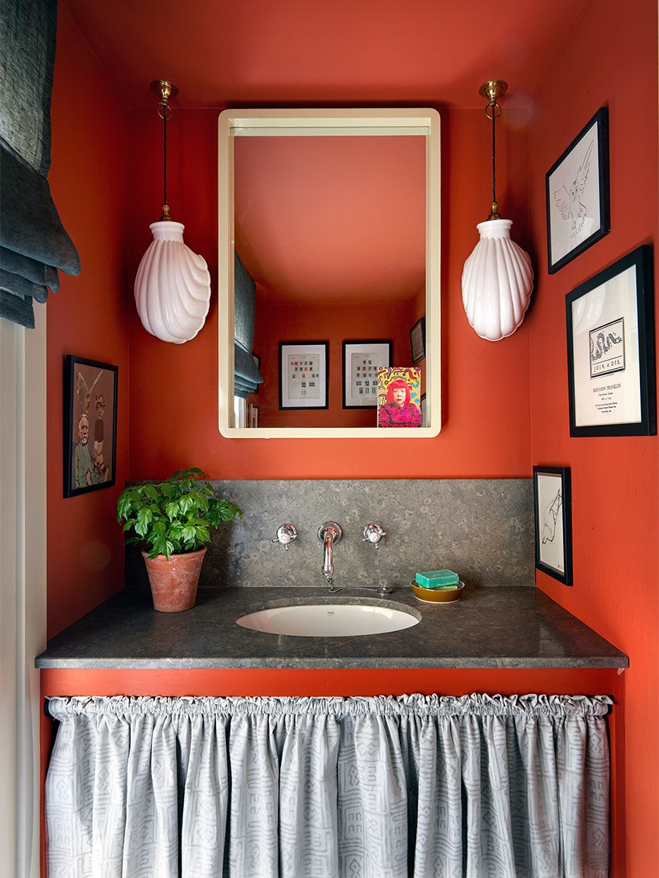 saturated red bathroom