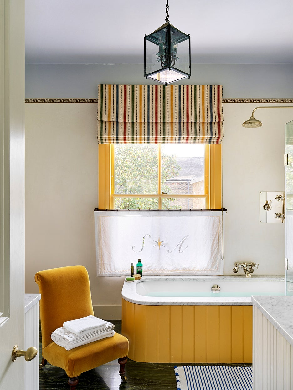 yellow accented bathroom