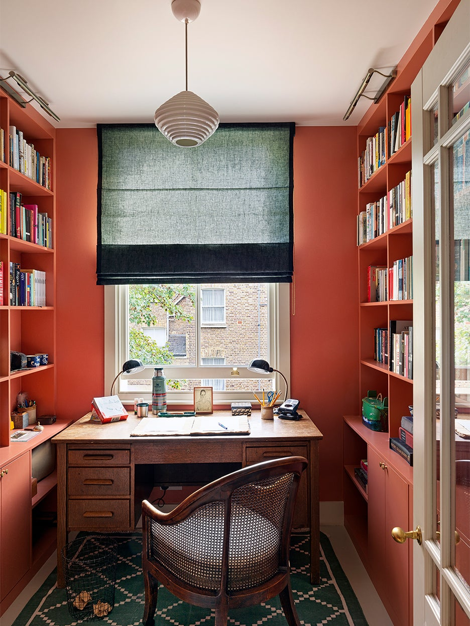 salmon colored library