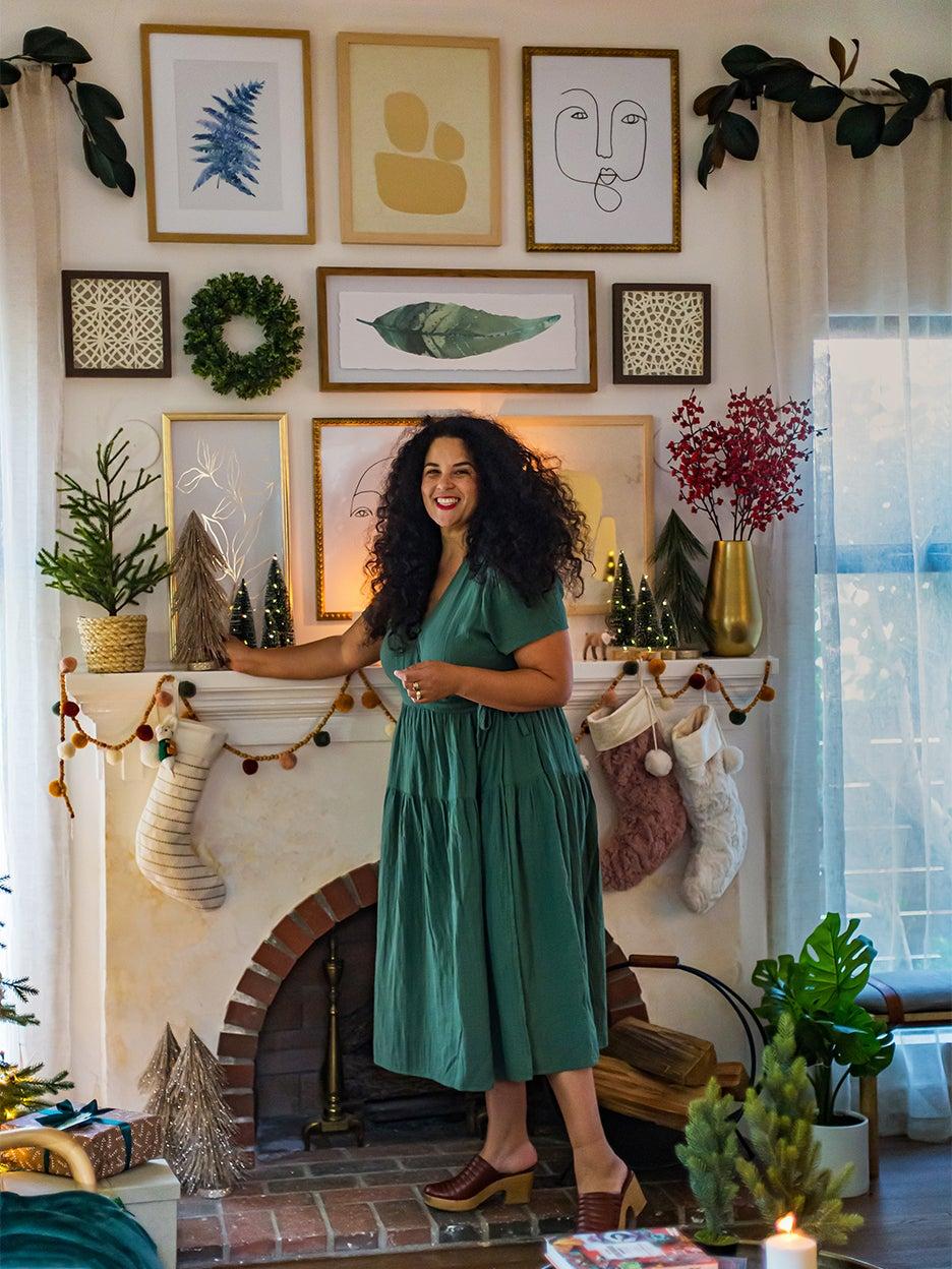 Justina Blakeney decorating mantel