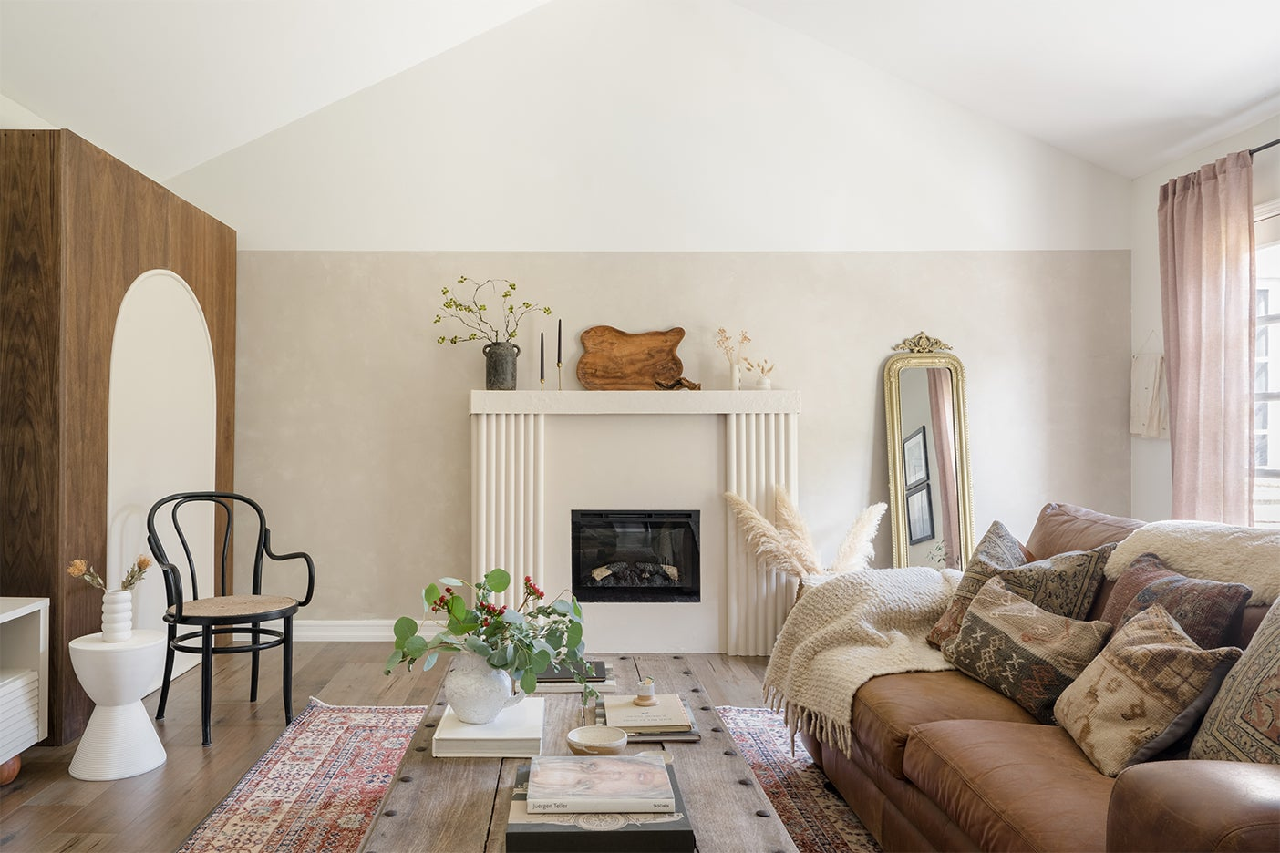 cozy white and brown living room