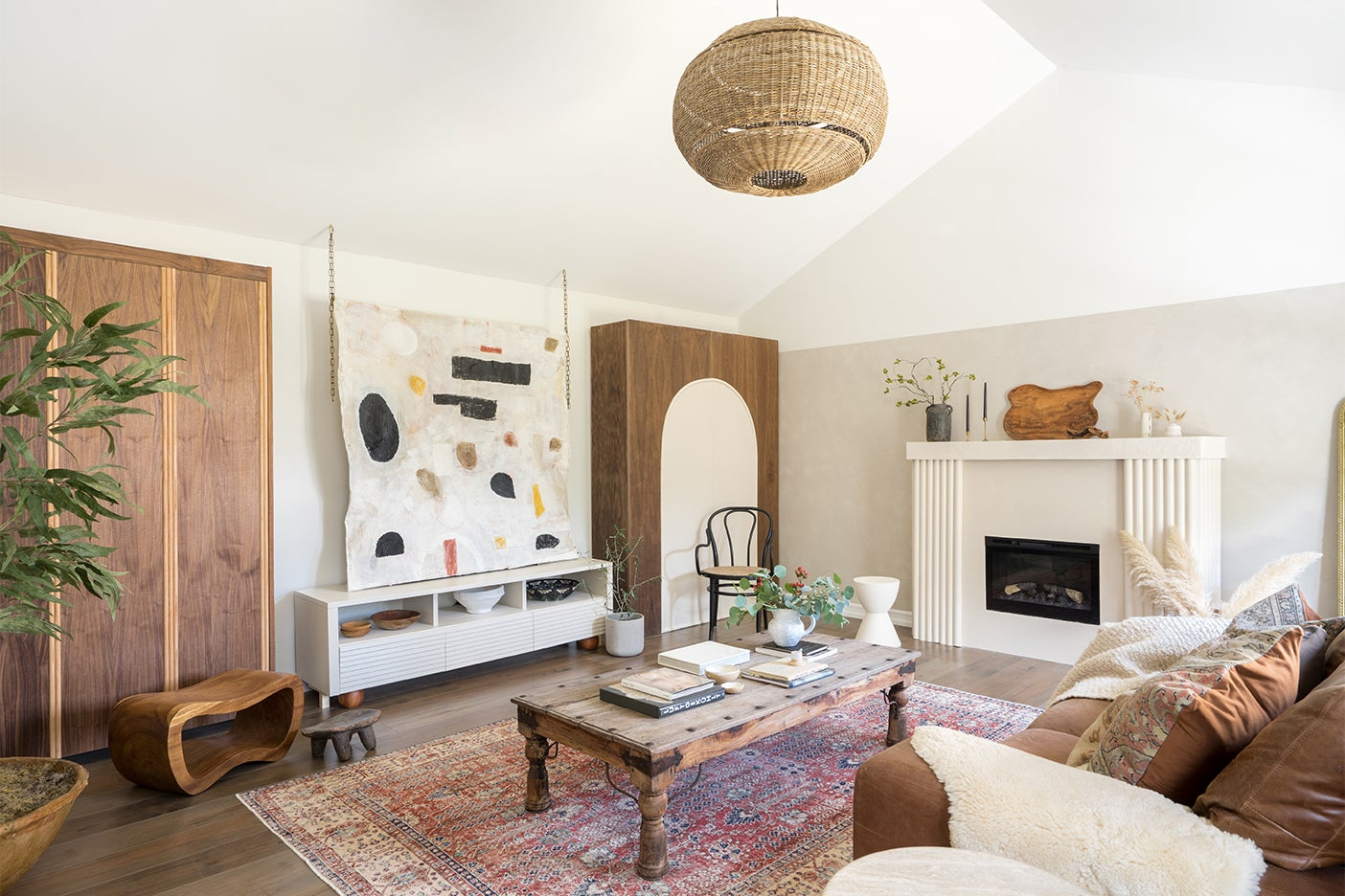 modern living room with abstract tapestry