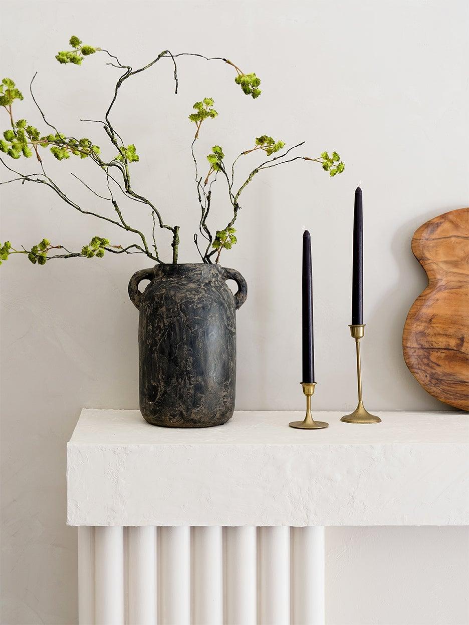 vase on a mantel