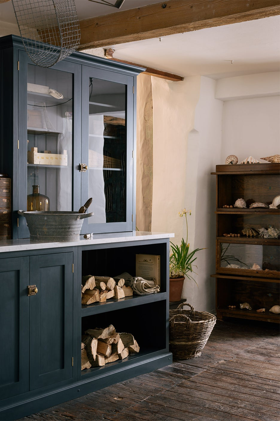 fire wood in a open cabinet