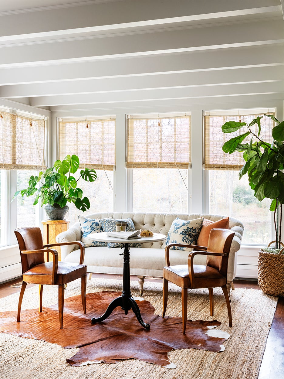 Sunroom with bamboo blinds