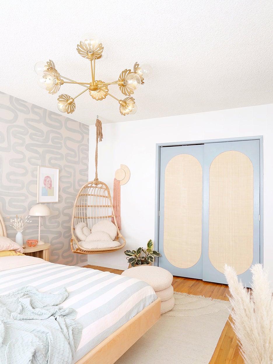 boho bedroom with gray and tan closet