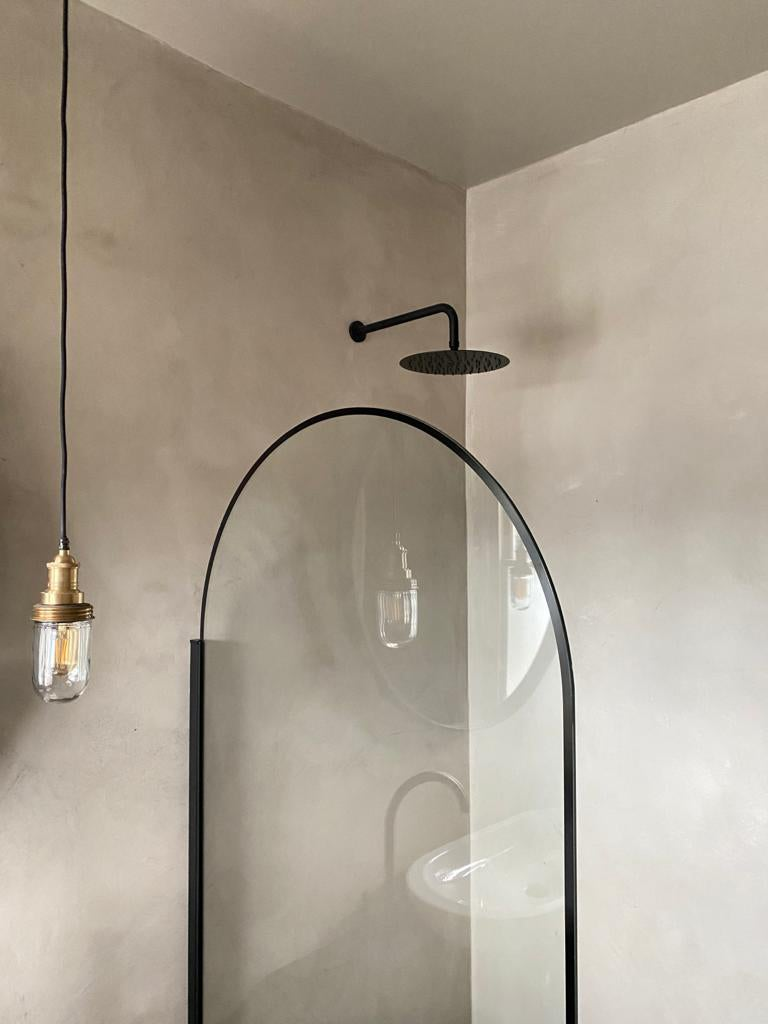 shower with gray walls