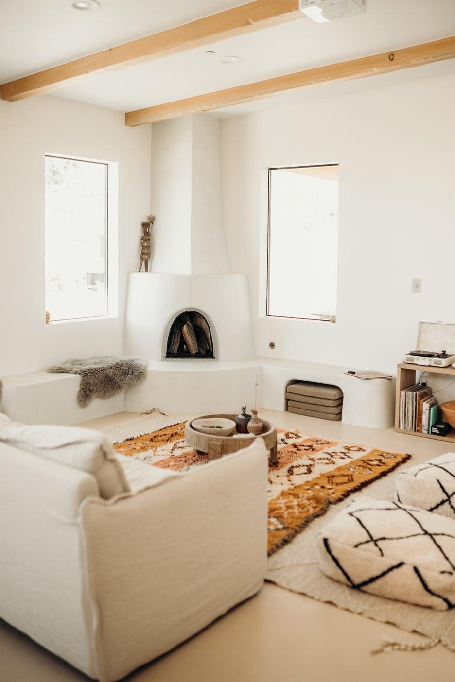 white living room adobe style